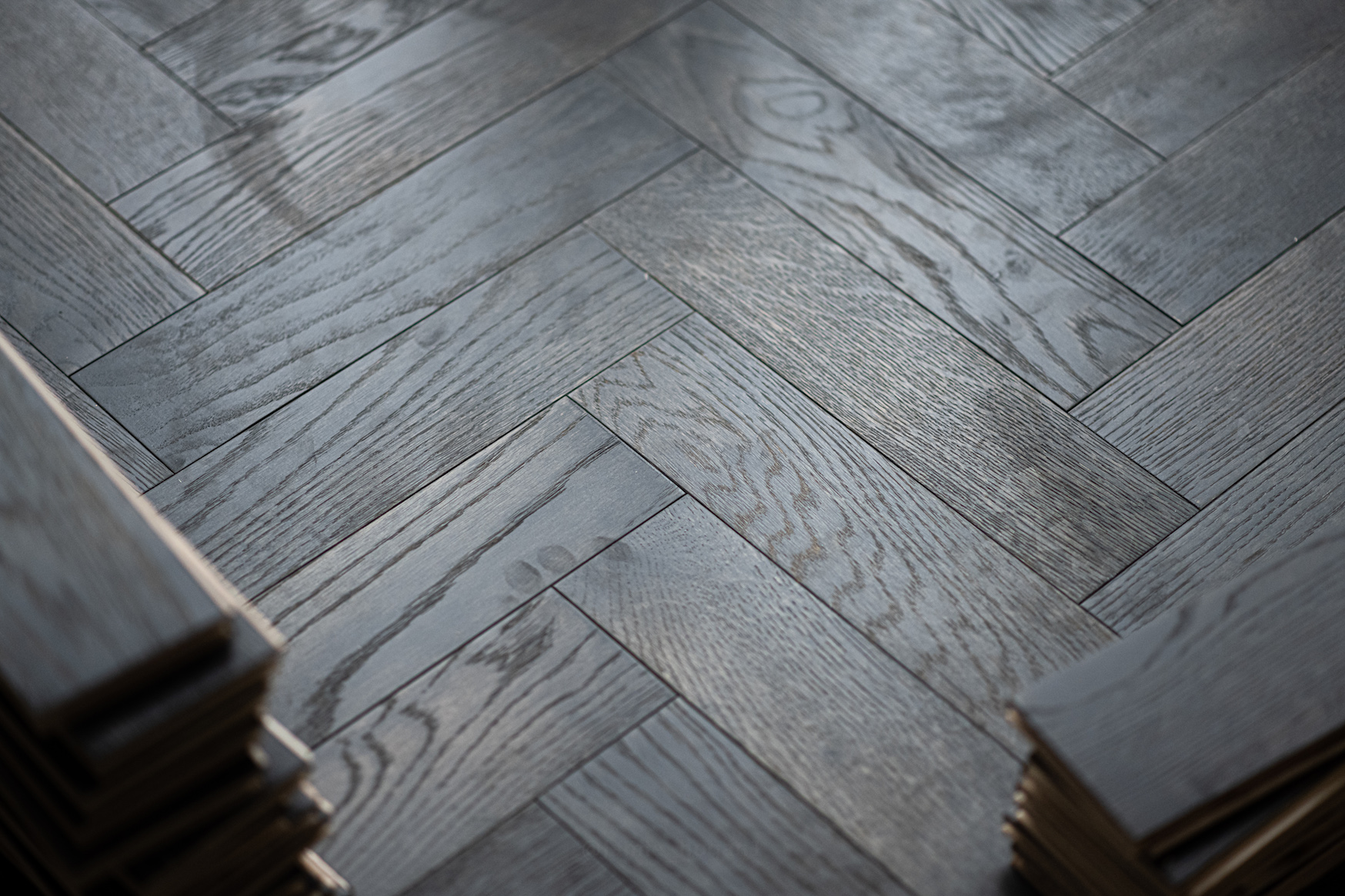 Dolcevita 15/4 x 90mm Dark Steel Oak Herringbone Engineered Flooring