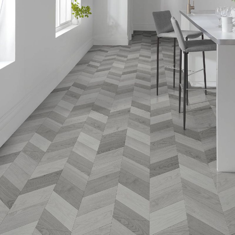 London Style 8mm Light Grey Laminate Chevron Flooring