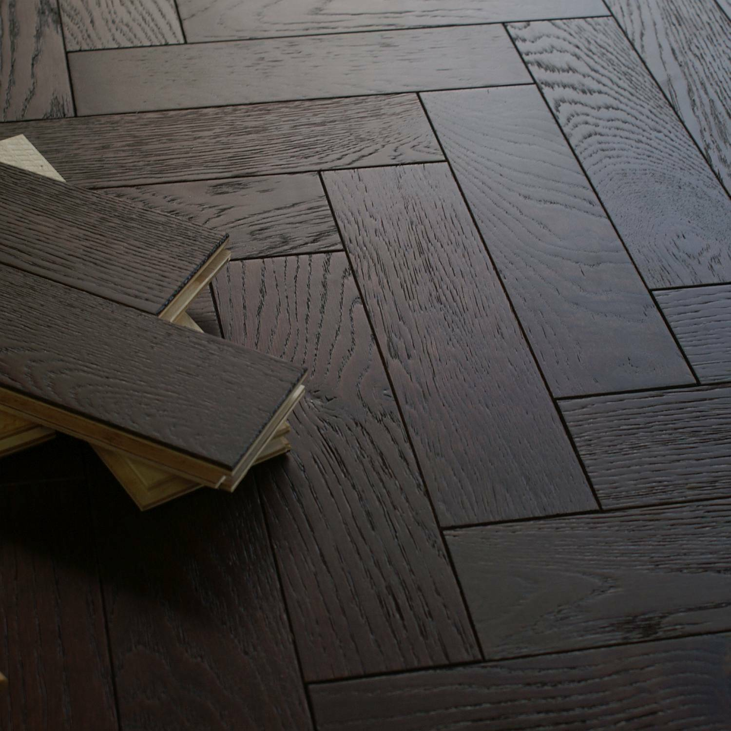 Riviera 18/3 x 80mm Dark Walnut Stain Herringbone Engineered