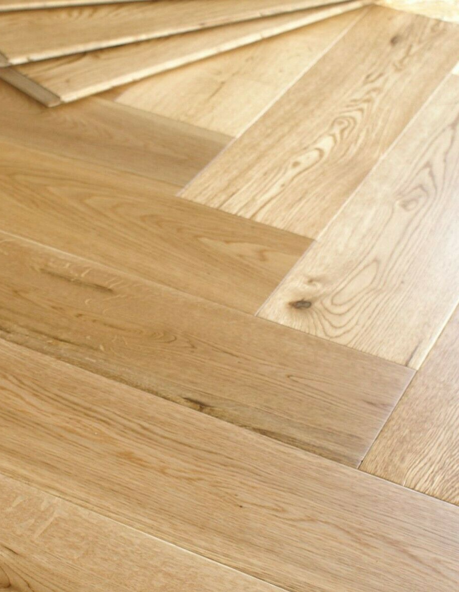 Riviera Herringbone Click 14/3 x 150mm Natural Lacquered Oak Engineered Wood