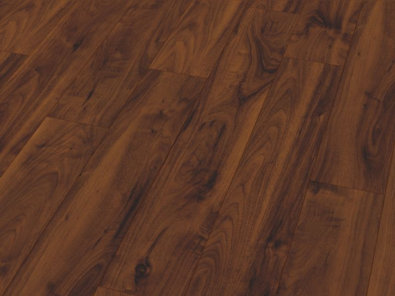 Fusion Gloss 12mm American Dark Walnut 4V Groove Laminate Flooring