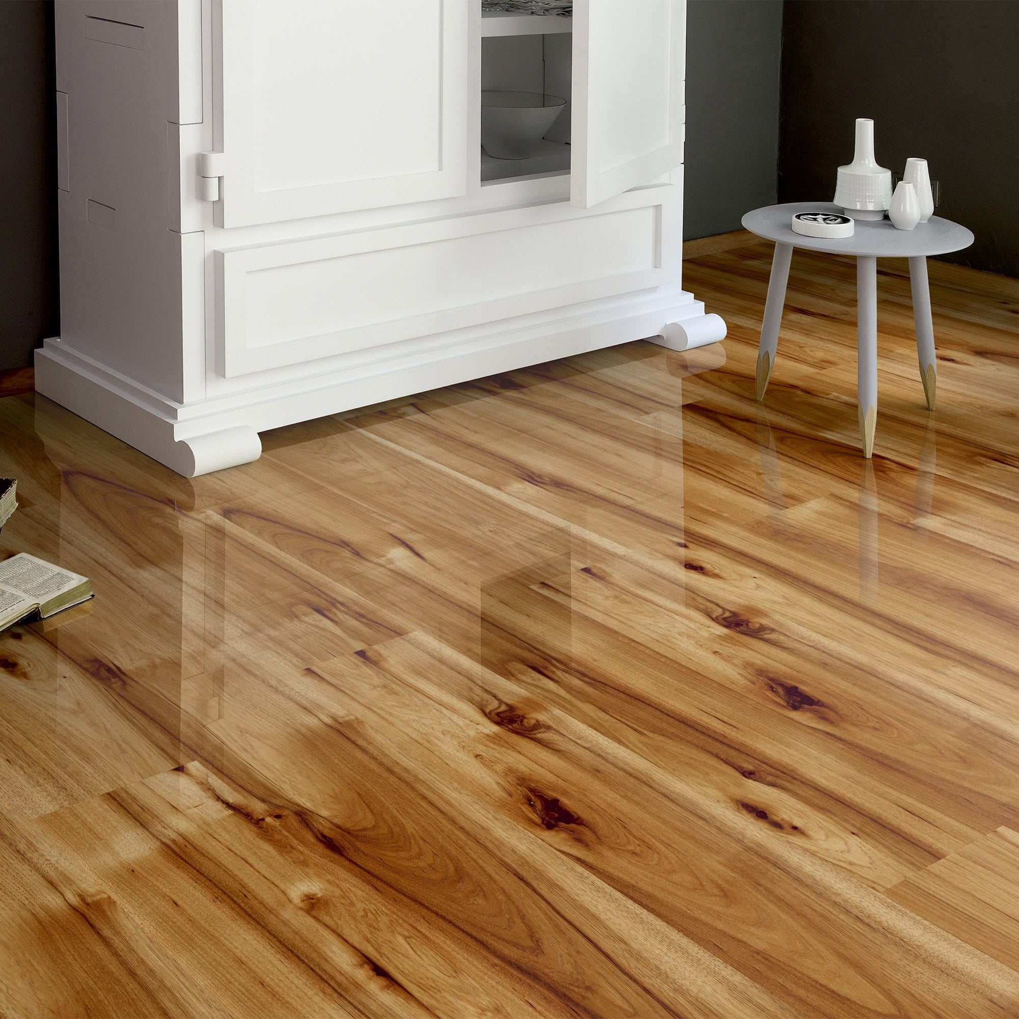 Home High Gloss 8mm Hickory Oak 4V Laminate Flooring