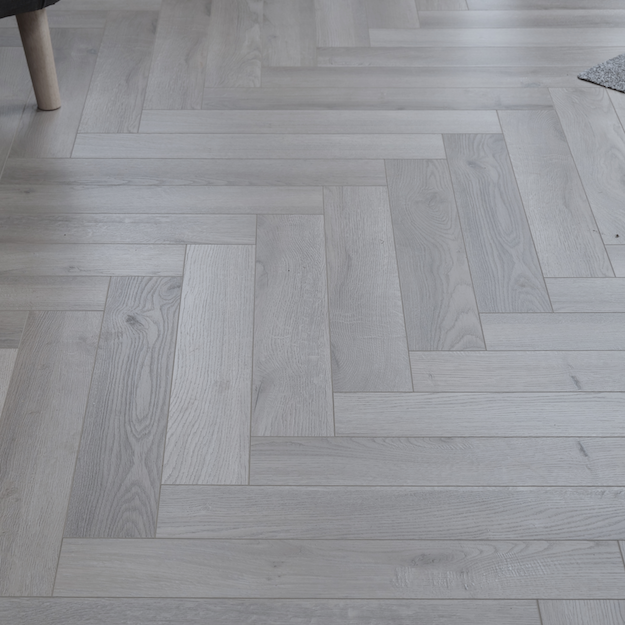 Fusion Herringbone 12mm Embossed Grey Oak 4V Laminate Flooring