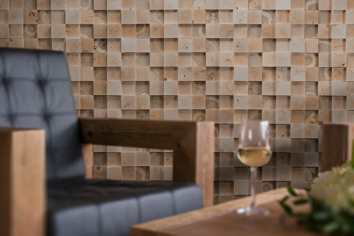 Square Edge 3D Deep Reclaimed Real Wood Panel Wall Cladding