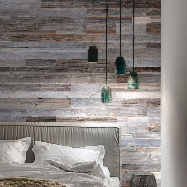 Grey Weathered Real Wood Plank Wall Cladding