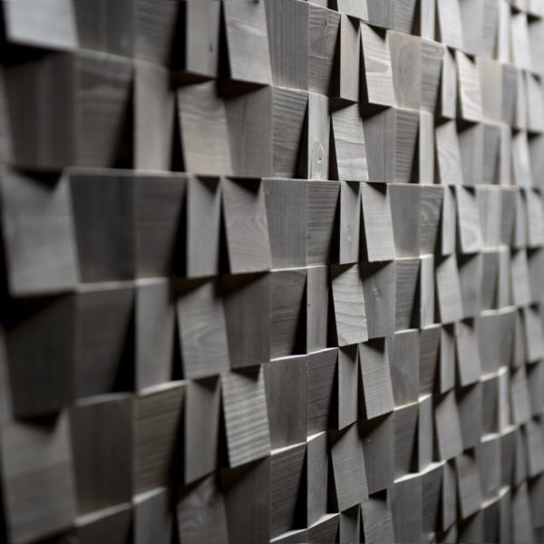 Graphite Puzzle 3D Deep Reclaimed Real Wood Panel Wall Cladding